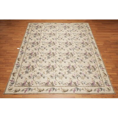 Monserrat One-of-a-Kind Needlepoint Aubusson Traditional Oriental Hand-Woven Wool Beige Area Rug