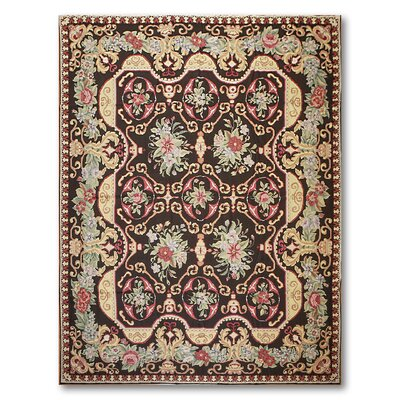 McMullen One-of-a-Kind Needlepoint Aubusson Traditional Oriental Hand-Woven Wool Black Area Rug