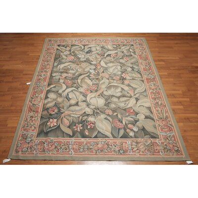 Mervela One-of-a-Kind Needlepoint Aubusson Traditional Oriental Hand-Woven Wool Olive Green Area Rug