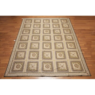 Predesca One-of-a-Kind Needlepoint Aubusson Traditional Oriental Hand-Woven Wool Beige Area Rug