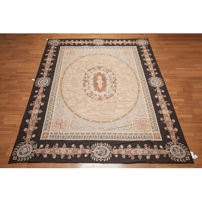 Mikac One-of-a-Kind Needlepoint Aubusson Traditional Oriental Hand-Woven Wool Gray Area Rug