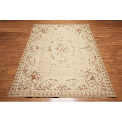 McPhillips One-of-a-Kind Needlepoint Aubusson Traditional Oriental Hand-Woven Wool Beige Area Rug