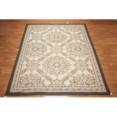 Mikulec One-of-a-Kind Needlepoint Aubusson Traditional Oriental Hand-Woven Wool Beige Area Rug