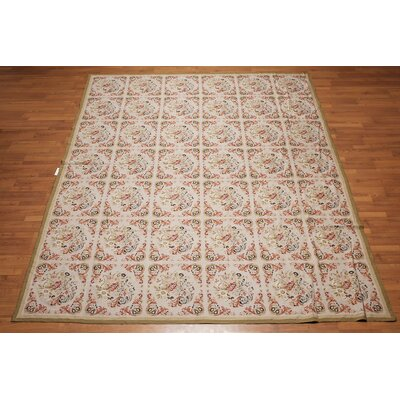 Mina One-of-a-Kind Needlepoint Aubusson Traditional Oriental Hand-Woven Wool Grayish Beige Area Rug