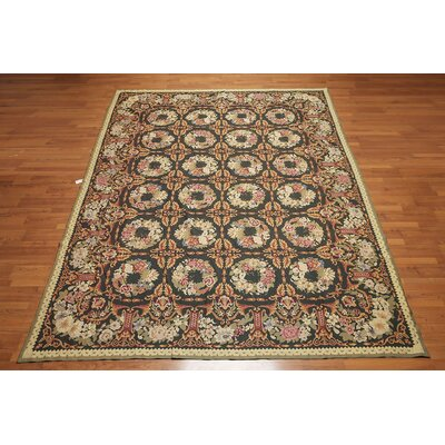 Janvier One-of-a-Kind Needlepoint Aubusson Traditional Oriental Hand-Woven Wool Black Area Rug