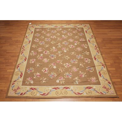 Jasmin One-of-a-Kind Needlepoint Aubusson Traditional Oriental Hand-Woven Wool Brown Area Rug