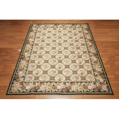 Jaxson One-of-a-Kind Needlepoint Aubusson Traditional Oriental Hand-Woven Wool Beige Area Rug