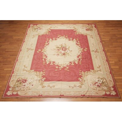 Kapur One-of-a-Kind Needlepoint Aubusson Traditional Oriental Hand-Woven Wool Fuchsia Area Rug