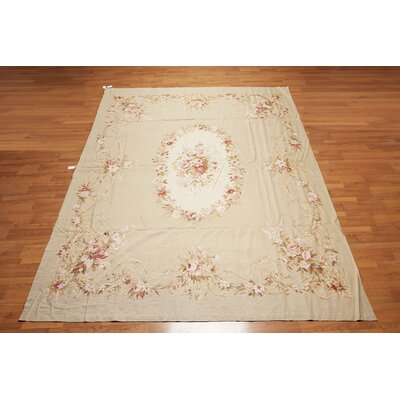 Juniata One-of-a-Kind Needlepoint Aubusson Traditional Oriental Hand-Woven Wool Tan Area Rug