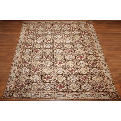 Kato One-of-a-Kind Needlepoint Aubusson Traditional Oriental Hand-Woven Beige Area Rug