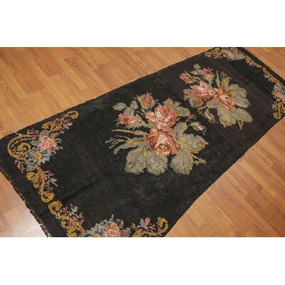 Kayo One-of-a-Kind Kilim Traditional Oriental Hand-Woven Wool Dark Brown Area Rug
