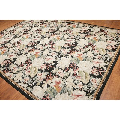 Kali One-of-a-Kind Needlepoint Aubusson Traditional Oriental Hand-Woven Wool Beige Area Rug