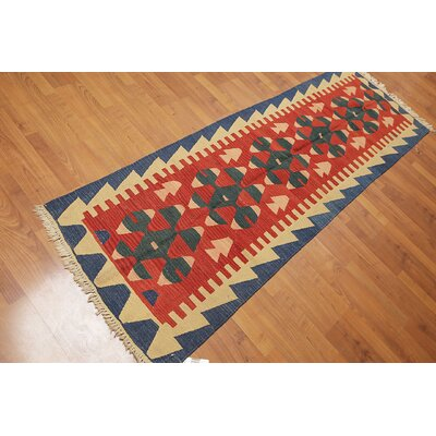 Quon One-of-a-Kind Kilim Traditional Oriental Hand-Woven Wool Rust Area Rug