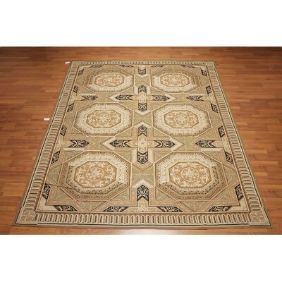 Kalwarski One-of-a-Kind Needlepoint Aubusson Traditional Oriental Hand-Woven Wool Brown Area Rug