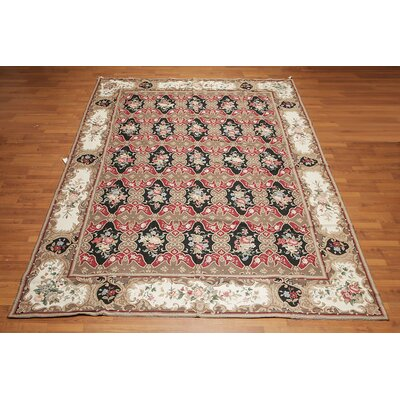 Jacinta One-of-a-Kind Needlepoint Aubusson Traditional Oriental Hand-Woven Wool Brown Area Rug