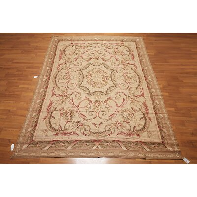 Kanade One-of-a-Kind Needlepoint Aubusson Traditional Oriental Hand-Woven Wool Light Brown Area Rug