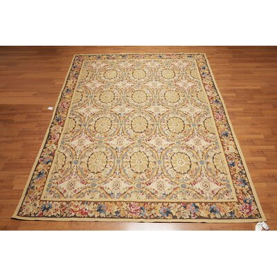 Kapono One-of-a-Kind Needlepoint Aubusson Traditional Oriental Hand-Woven Wool Beige Area Rug