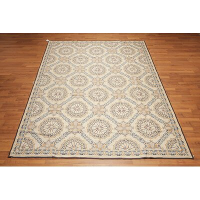 Quiroga One-of-a-Kind Needlepoint Aubusson Traditional Oriental Hand-Woven Wool Beige Area Rug