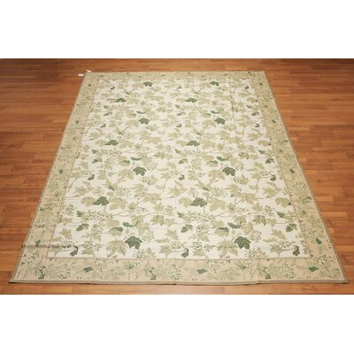 Jagtap One-of-a-Kind Needlepoint Aubusson Traditional Oriental Hand-Woven Wool Beige Area Rug
