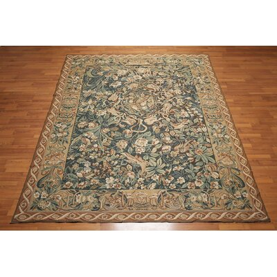 Jambusaria One-of-a-Kind Needlepoint Aubusson Traditional Oriental Hand-Woven Wool Green Area Rug