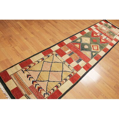 Purnell One-of-a-Kind Modern Oriental Hand-Knotted Wool Orangy Red Area Rug