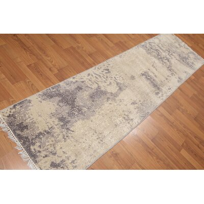 Pursel One-of-a-Kind Contemporary Oriental Hand-Knotted Wool Ivory Area Rug