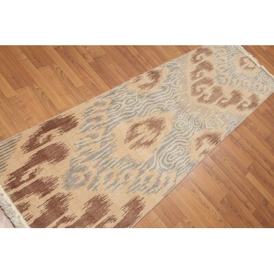 Hendry One-of-a-Kind Contemporary Oriental Hand-Knotted Wool Tan Area Rug