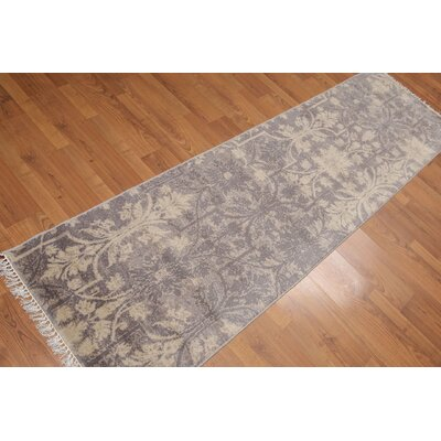 Purtell One-of-a-Kind Transitional Oriental Hand-Knotted Wool Gray Area Rug