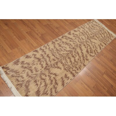 Puryear One-of-a-Kind Contemporary Oriental Hand-Knotted Wool Tan Area Rug