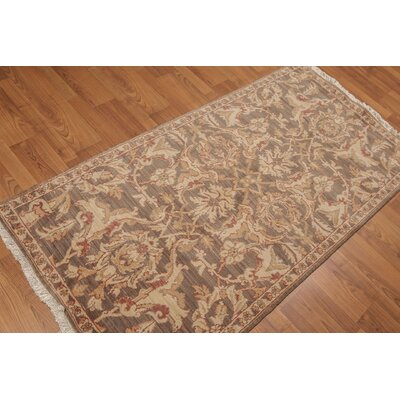 Henryson One-of-a-Kind Traditional Oriental Hand-Knotted Wool Brown Area Rug