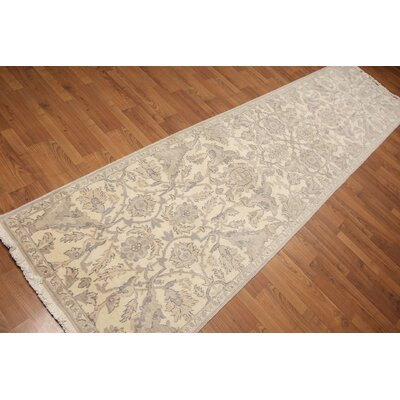 Hepscott One-of-a-Kind Traditional Oriental Hand-Knotted Wool Ivory Area Rug