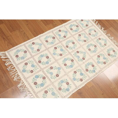 Hainsworth One-of-a-Kind Dhurry Traditional Oriental Hand-Woven Cotton Beige Area Rug