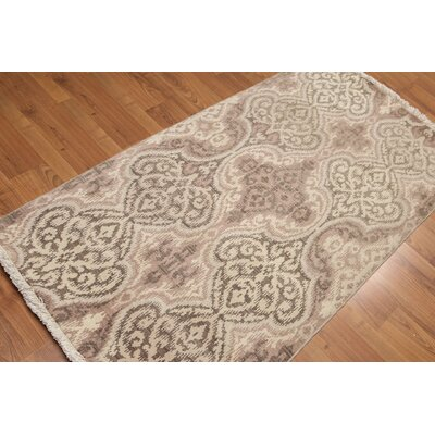 Herberts One-of-a-Kind Traditional Oriental Hand-Knotted Wool Taupe Area Rug