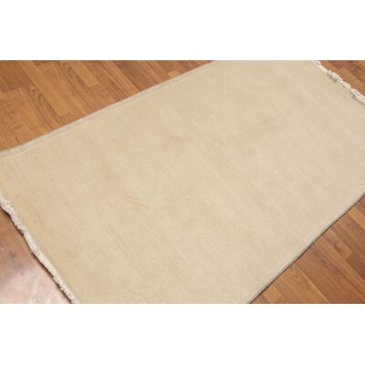 Herndon One-of-a-Kind Modern Oriental Hand-Knotted Wool Beige Area Rug