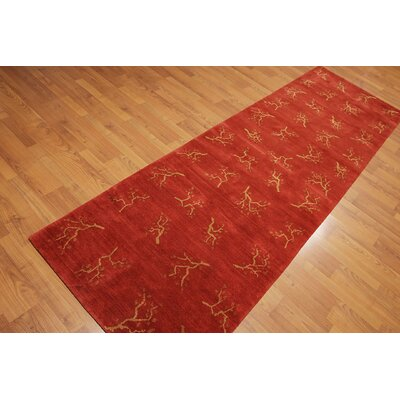 Pyatt One-of-a-Kind Modern Oriental Hand-Knotted Wool Orangy Red Area Rug