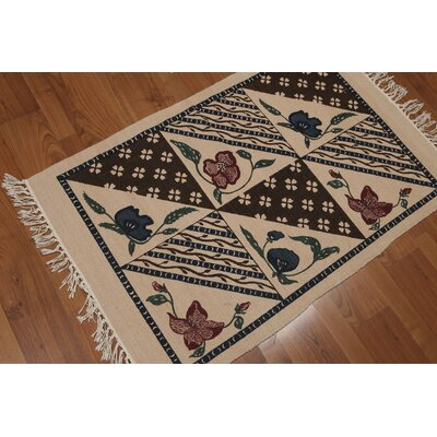 Oldknow One-of-a-Kind Printed Dhurry Traditional Oriental Hand-Knotted Wool Beige Area Rug