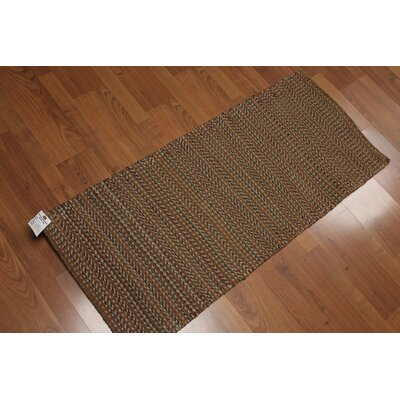 Galindo-White One-of-a-Kind Dhurry Kilim Reversible Contemporary Oriental Hand-Woven Wool Brown Area Rug