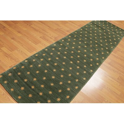 Pyburn One-of-a-Kind Modern Oriental Hand-Knotted Wool Green Area Rug