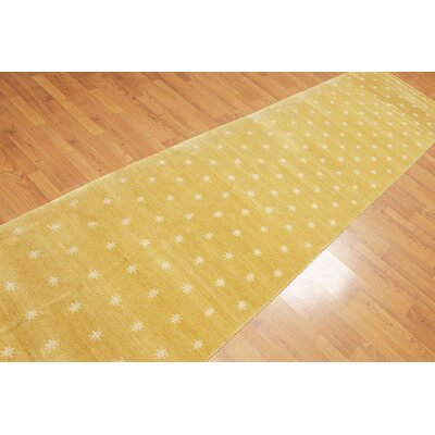 Pylant One-of-a-Kind Modern Oriental Hand-Knotted Wool Pale Yellow Area Rug