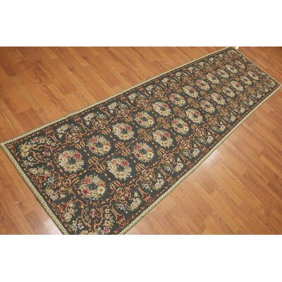 Gian One-of-a-Kind Needlepoint Traditional Oriental Hand-Woven Wool Dark Green Area Rug