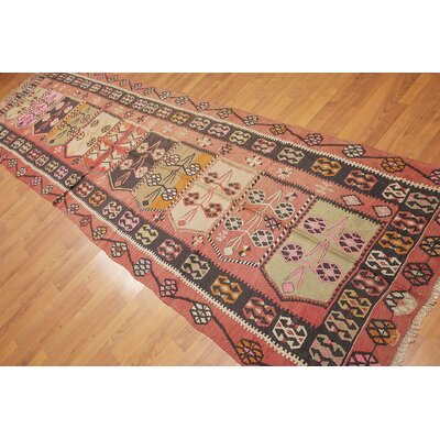 Purington One-of-a-Kind Kilim Traditional Oriental Hand-Woven Wool Charcoal Area Rug