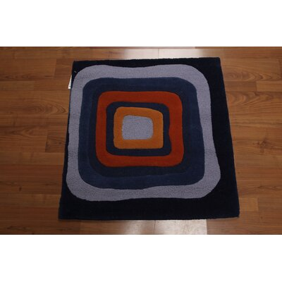Trottier One-of-a-Kind Modern Oriental Hand-Knotted Wool Blue Area Rug