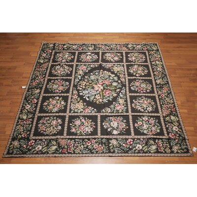 Giana One-of-a-Kind Needlepoint Aubusson Traditional Oriental Hand-Woven Wool Black Area Rug
