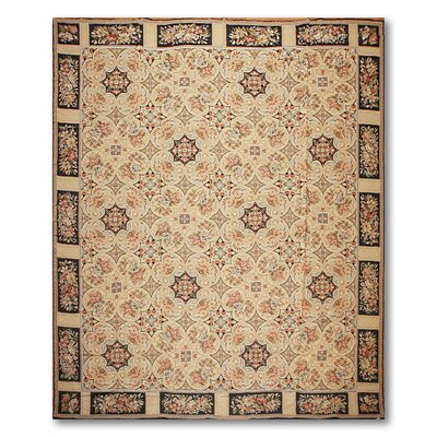 Gianetta One-of-a-Kind Needlepoint Aubusson Traditional Oriental Hand-Woven Wool Beige Area Rug
