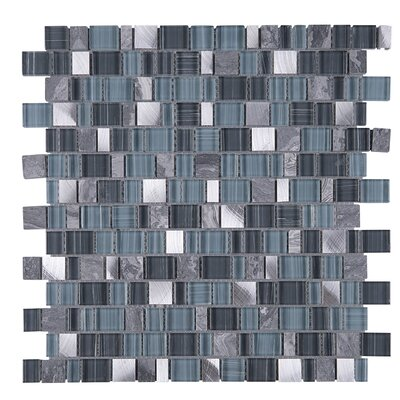 Cubemax Random Sized Mixed Material Tile in Gray/Blue