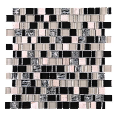 Cubemax Random Sized Mixed Material Tile in Black/Beige