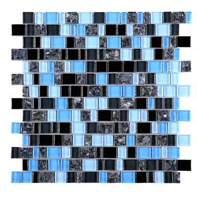 Cubemax Random Sized Mixed Material Tile in Black/Blue