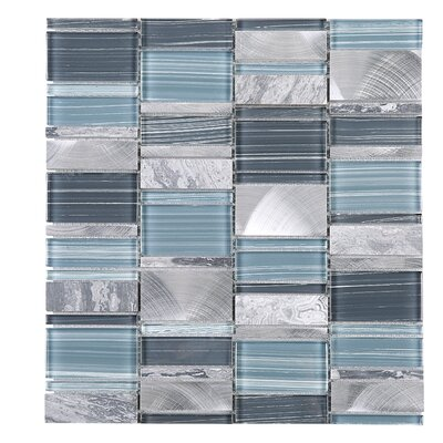 Brickmax Random Sized Mixed Material Tile in Gray/Blue