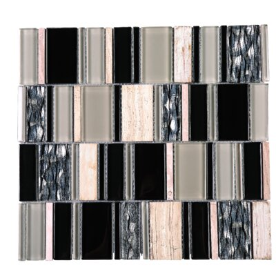 Brickmax Random Sized Mixed Material Tile in Gray/Black
