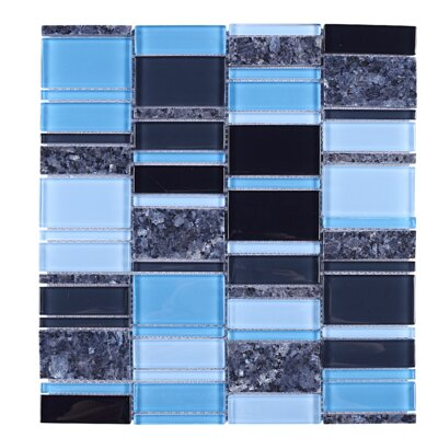 Brickmax Random Sized Mixed Material Tile in Blue